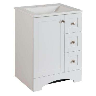 Lancaster 24 in. W Vanity in White with Alpine Vanity Top in White