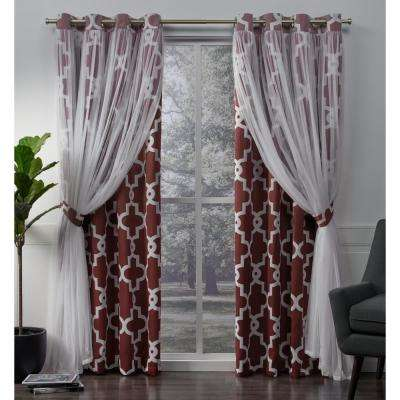 Alegra 52 in. W x 108 in. L Layered Sheer Blackout Grommet Top Curtain Panel in Wine (2 Panels)