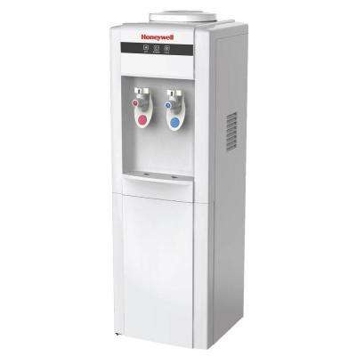 Freestanding Top-Loading Hot/Cold Water Dispenser with Cabinet and Thermostat Control in White