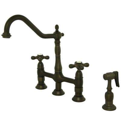 Heritage 2-Handle Bridge Kitchen Faucet with Side Sprayer in Oil Rubbed Bronze