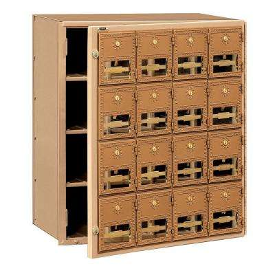 2000 Series Brass Front Loading Mailbox with 16 Doors
