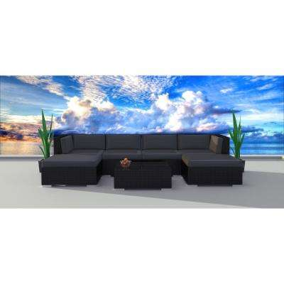 Black Series 7-Piece Wicker Outdoor Sectional Seating Set with Gray Cushions