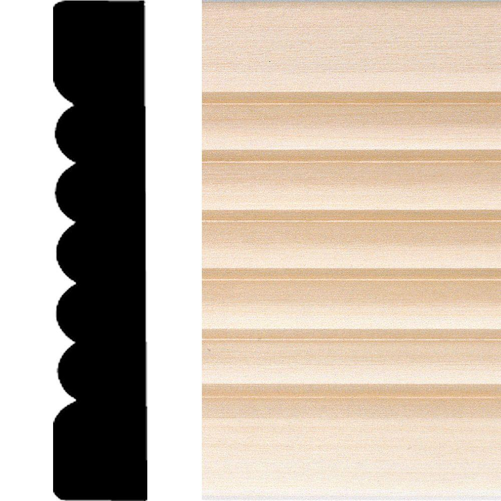 House of Fara 737 - 3/4 in x 4 in. x 7 ft. Basswood Ribbed Flute Casing Moulding