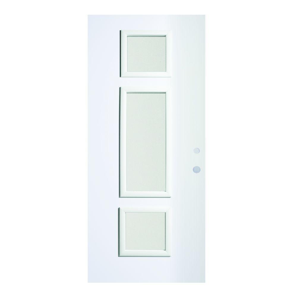 Stanley Doors 36 in. x 80 in. Marjorie Satin Opaque 3 Lite Painted White Left-Hand Inswing Steel Prehung Front Door