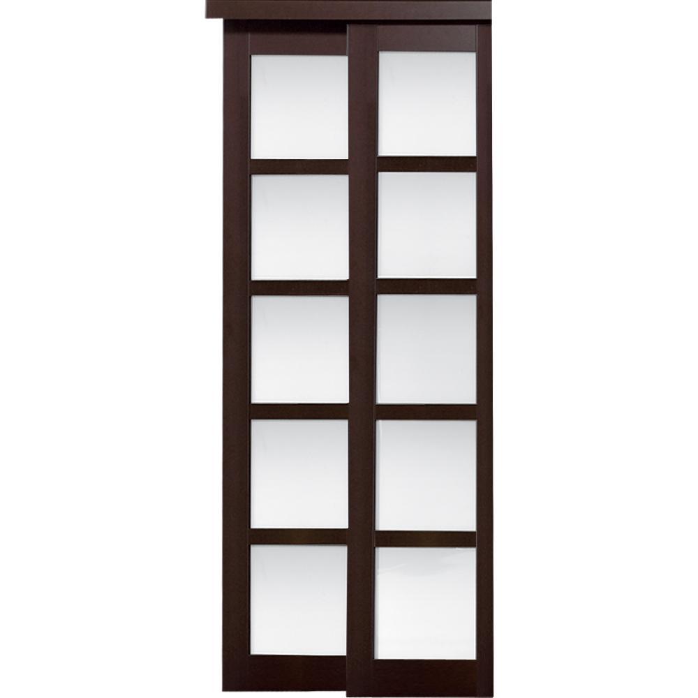 60 in. x 80 in. 2240 Series 5-Lite Composite Espresso Universal Grand Sliding Door