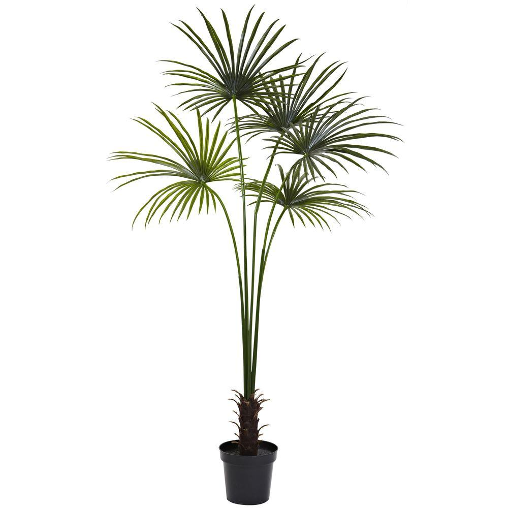 nearly natural 7 ft uv resistant indoor outdoor fan palm tree 5447