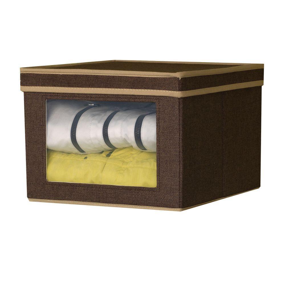 Household Essentials 12.25 in. x 13.25 in. Coffee Linen-Look Medium Vision Storage Box