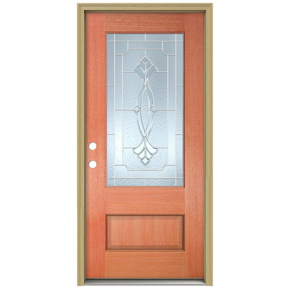 JELD-WEN 36 in. x 96 in. Champagne 3/4 Lite Unfinished Mahogany Wood Prehung Front Door with Brickmould and Zinc Caming