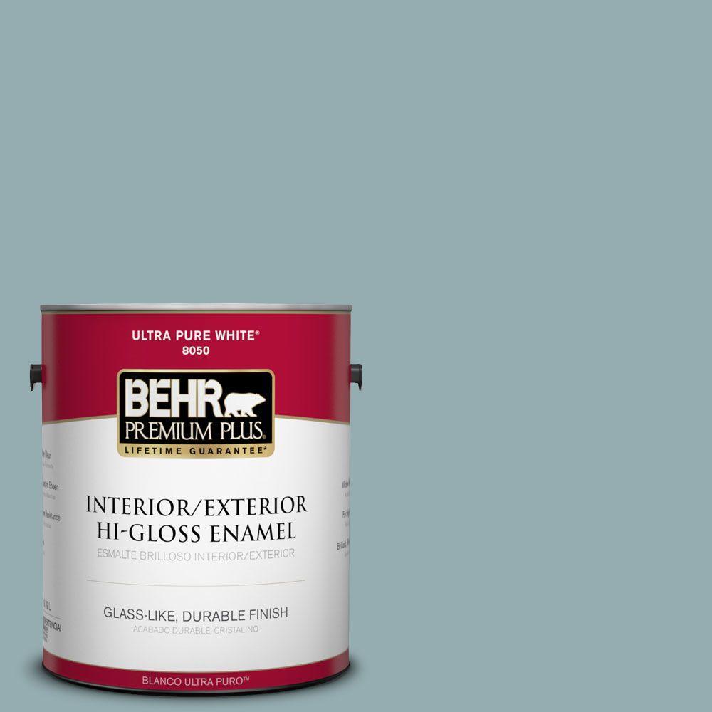 BEHR Premium Plus 1-gal. #ICC-66 Quiet Moment Hi-Gloss Enamel Interior/Exterior Paint