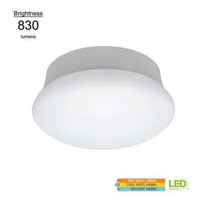 Lightbulb Replacement 7 in. Round White 60 Watt Equivalent Integrated LED Flushmount with Color Changing Feature