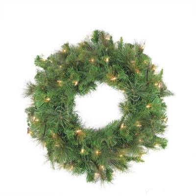 60 in. Pre-Lit LED Canyon Pine Artificial Christmas Wreath