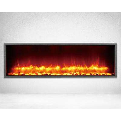 44 in. Built-in LED Electric Fireplace in Black Matt
