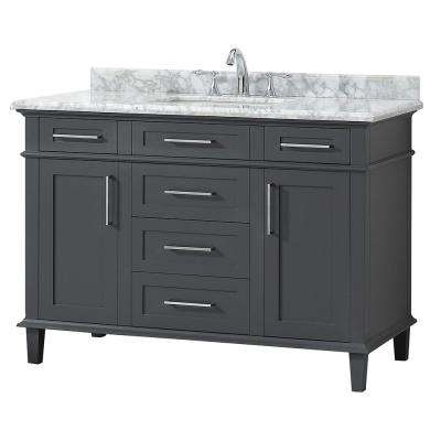 Sonoma 48 in. W x 22 in. D Vanity in Dark Charcoal with Carrara Marble Top with White Basins