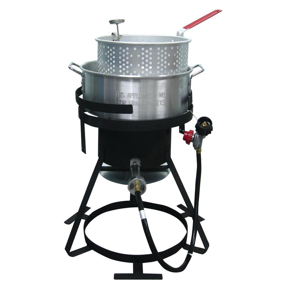 RiverGrille 10 qt. Aluminum Fish and Wings Fryer Kit The RiverGrille 10 qt. Fish and Wing Fryer comes with a 5 in. deep fry thermometer and a basket. Tip guards will prevent the fryer from tipping off the stand. The fryer is certified to the latest CSA testing standards.