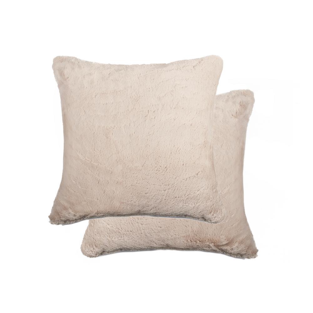 20 in. x 20 in. Belton Beige Faux Fur Pillow (Set of 2)