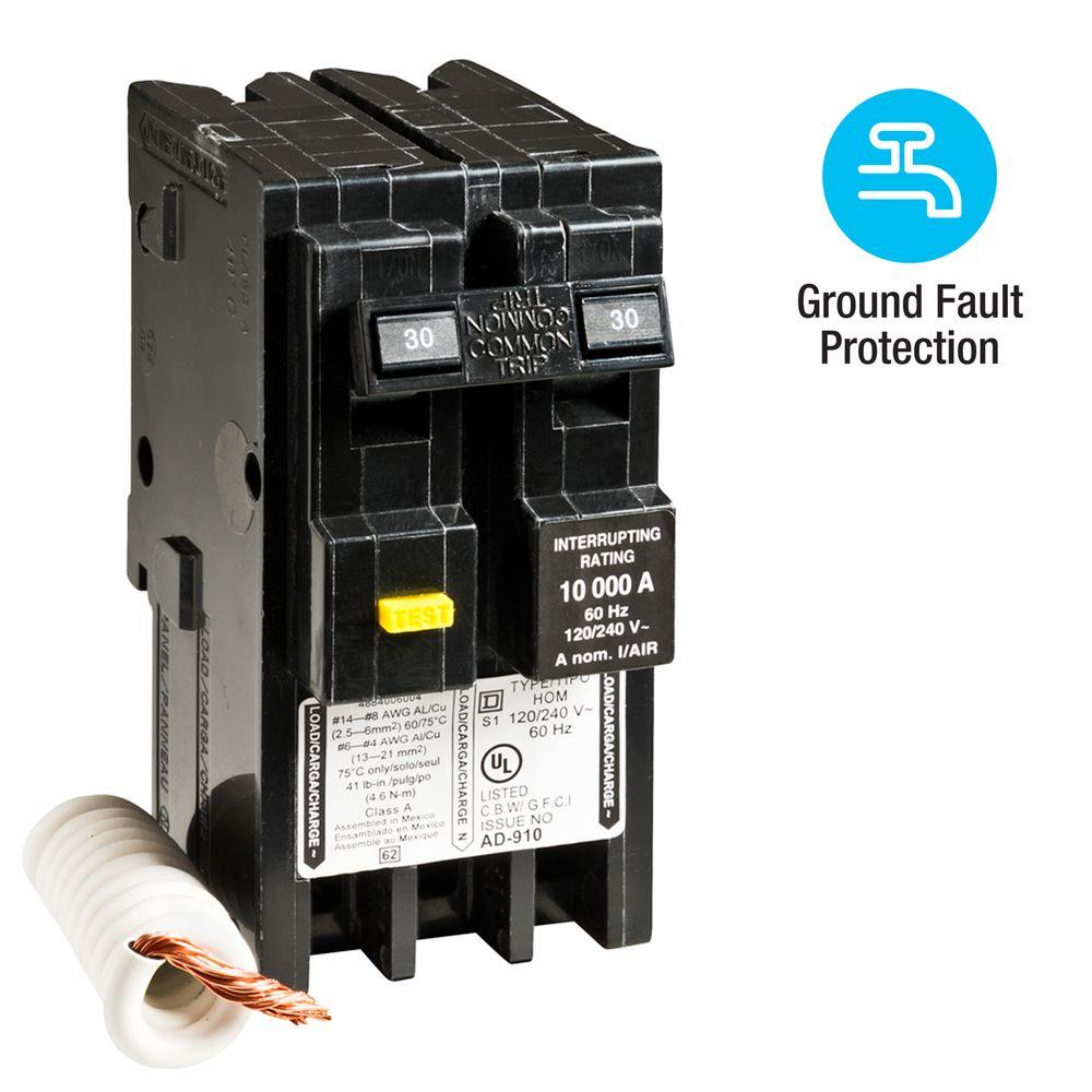 Square D Homeline 30 Amp 2 Pole GFCI Circuit Breaker