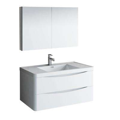Tuscany 40 in. Modern Wall Hung Bath Vanity in Glossy White w/ Vanity Top in White w/ White Basin and Medicine Cabinet