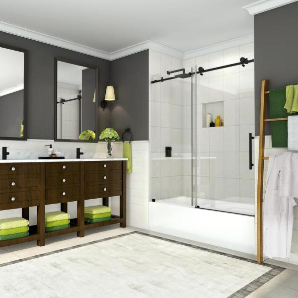 Coraline 56 in. to 60 in. x 60 in. Frameless Sliding Tub Door in Matte Black