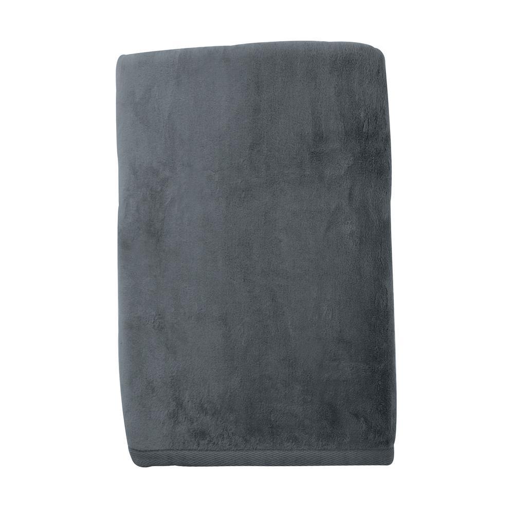 The Company Store Cotton Fleece Gray Flannel Woven Throw KO18-THRW-GR-FLNL