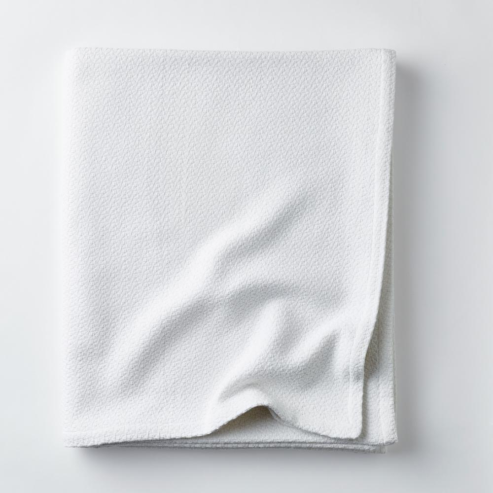 Organic Cotton White Solid Full Woven Blanket