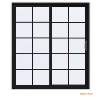 72 in. x 80 in. V-4500 Contemporary Black Painted Vinyl Right-Hand 10 Lite Sliding Patio Door w/White Interior