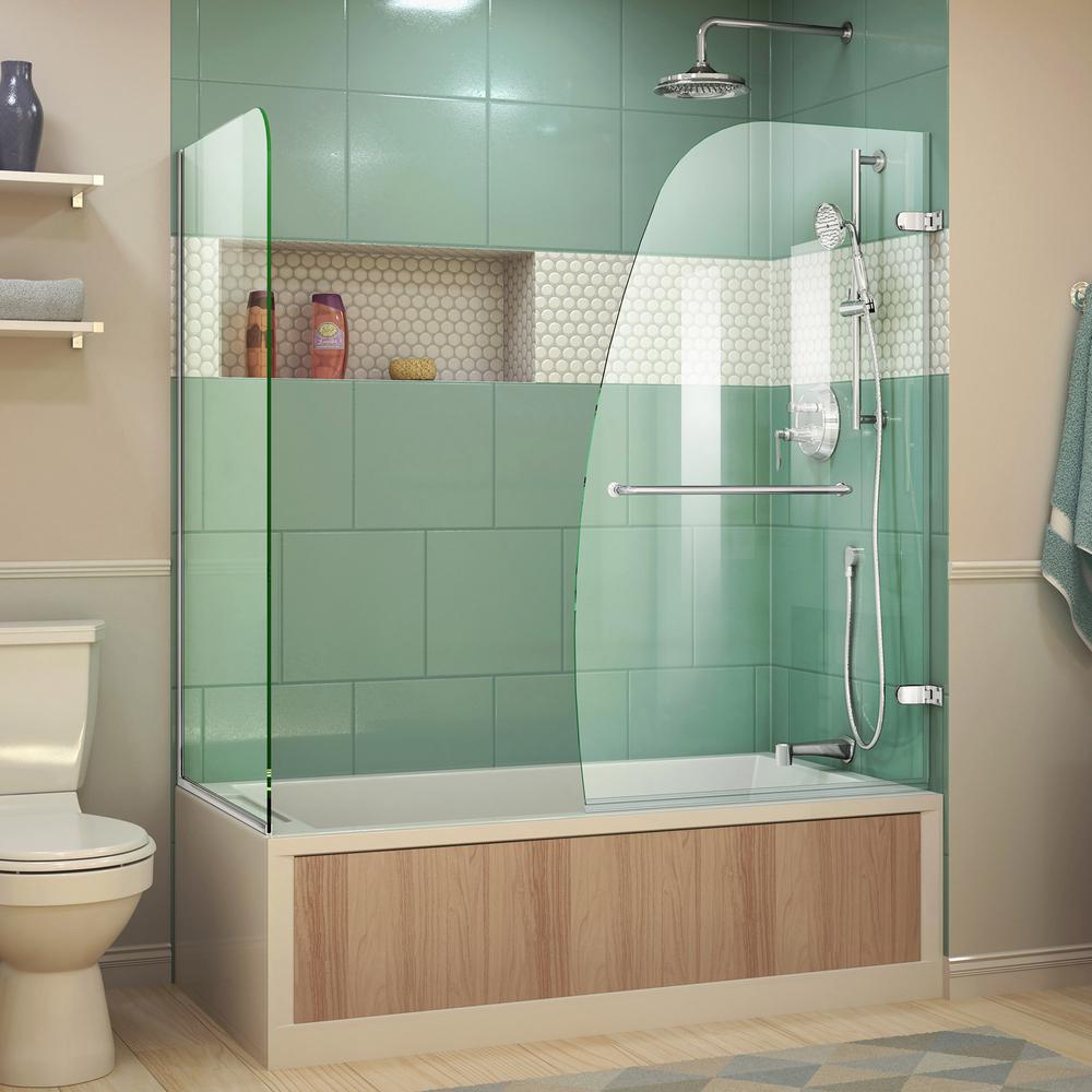 DreamLine Aqua Uno 60 in. x 58 in. Semi-Frameless Hinged Tub/Shower ...