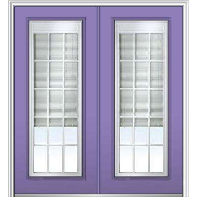 64 in. x 80 in. Internal Blinds and Grilles Left-Hand Full Lite Clear Low-E Painted Fiberglass Smooth Prehung Front Door