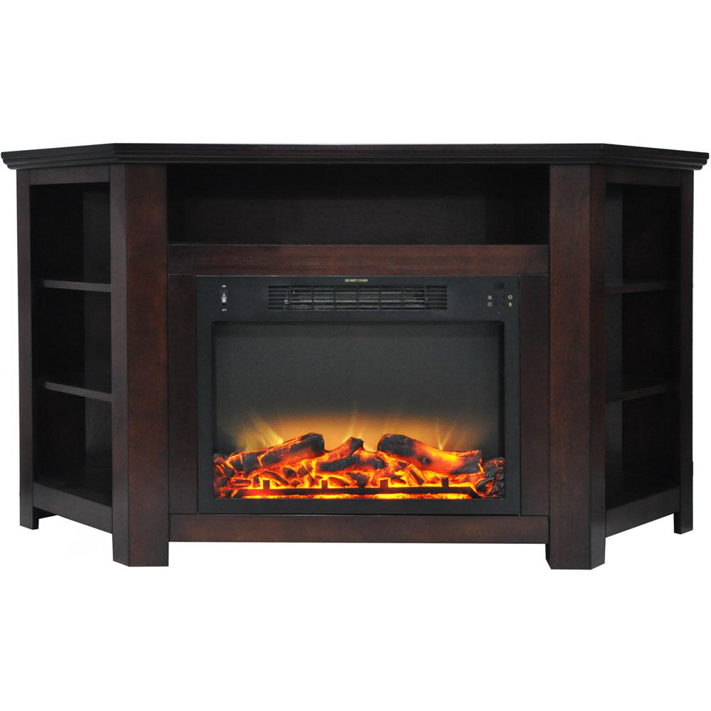 Hanover Tyler Park 56 in. Electric Corner Fireplace in Mahogany with Enhanced Fireplace Display