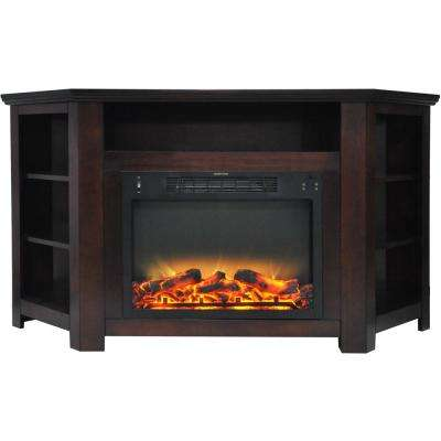 Tyler Park 56 in. Electric Corner Fireplace in Mahogany with Enhanced Fireplace Display