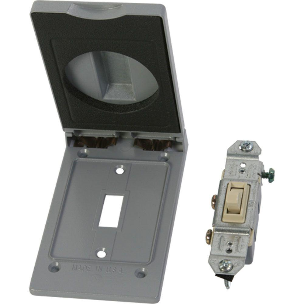 Greenfield Weatherproof Electrical Switch Cover With Single Pole Gray