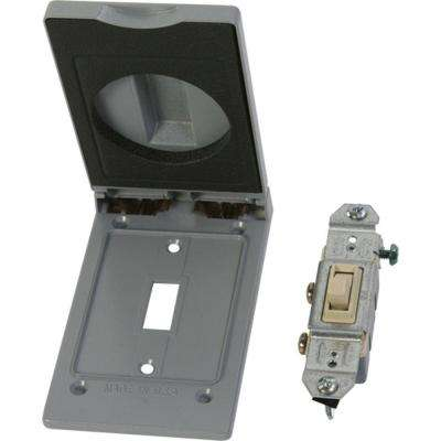 Weatherproof Electrical Switch Cover with Single Pole Switch - Gray
