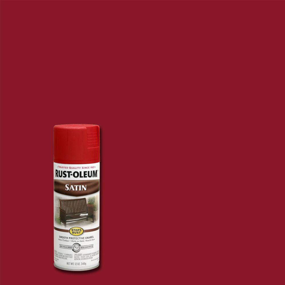 12 oz. Protective Enamel Satin Heritage Red Spray Paint