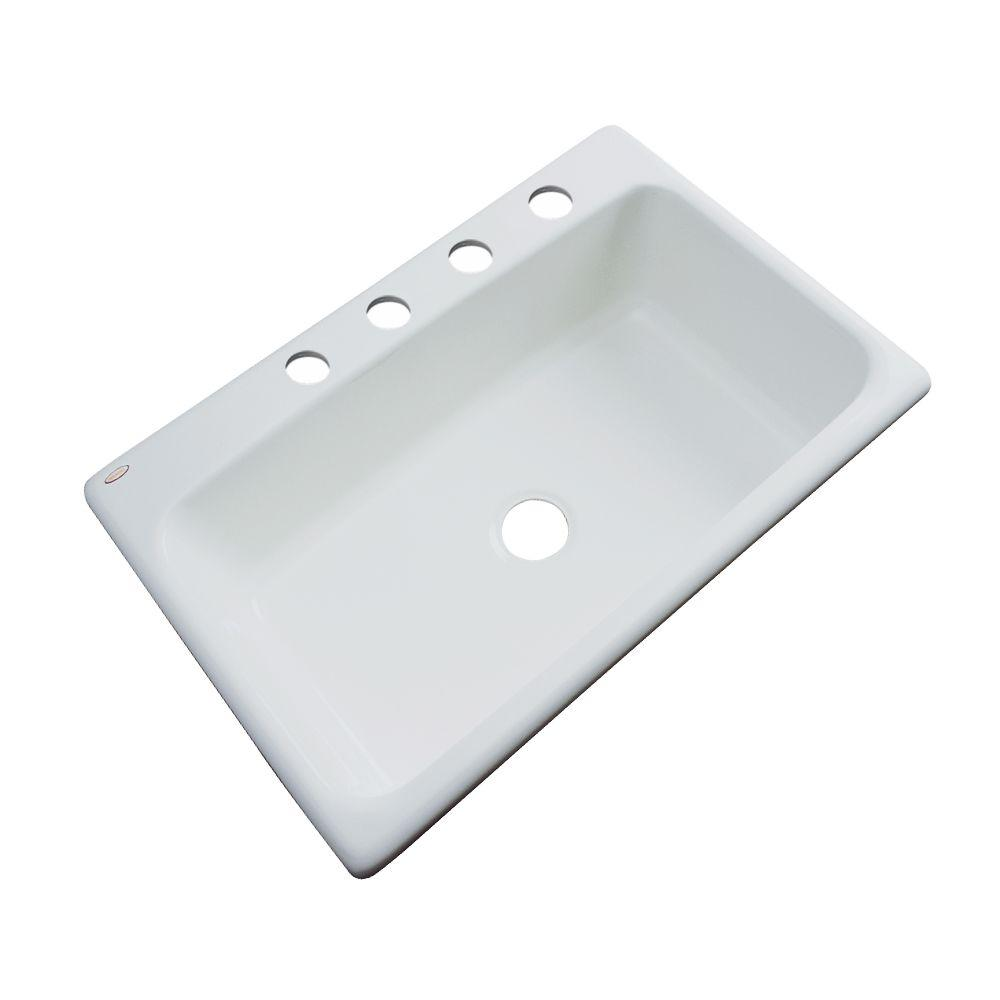 Thermocast Manhattan Drop-In Acrylic 33 in. 4-Hole Single Basin Kitchen Sink in Sterling Silver