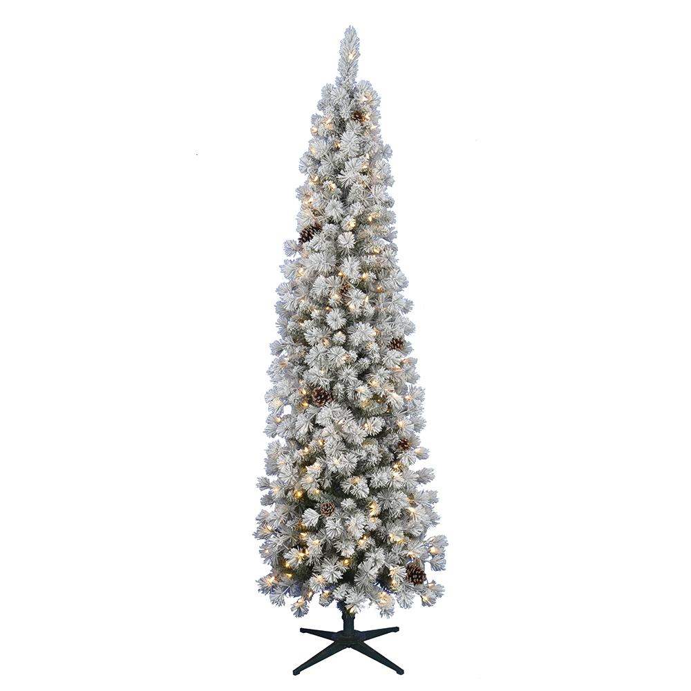 Home Accents Holiday 7 5 Ft Pre Lit Led Flocked Lexington Pine Pencil Artificial Christmas Tree With 250 Warm White Lights