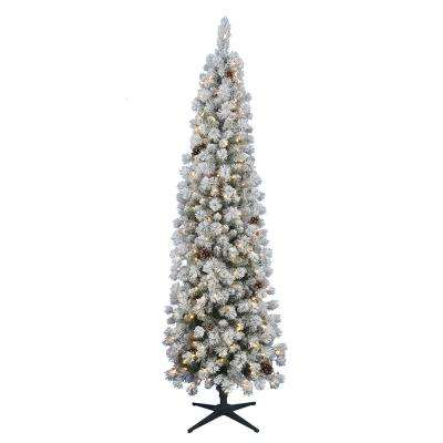 7.5 ft. Pre-Lit LED Flocked Lexington Pine Pencil Artificial Christmas Tree with 250 Warm White Lights