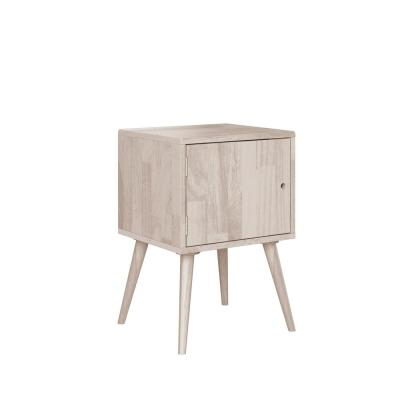 Freemont White Wash Mid Century Modern Square Wood Chest Style End Table with Door