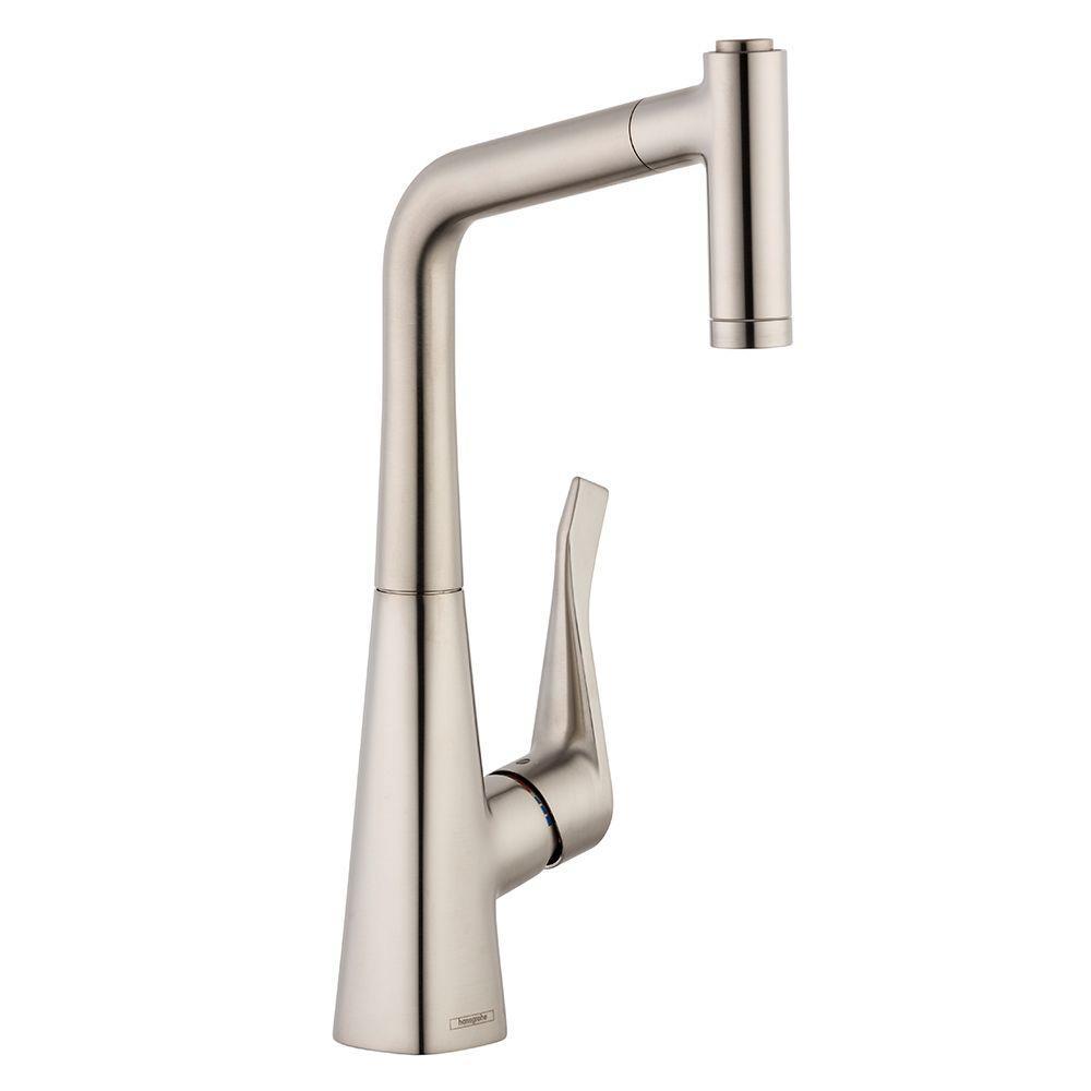 Metris Prep Single-Handle Pull-Out Sprayer Kitchen Faucet in Steel Optik