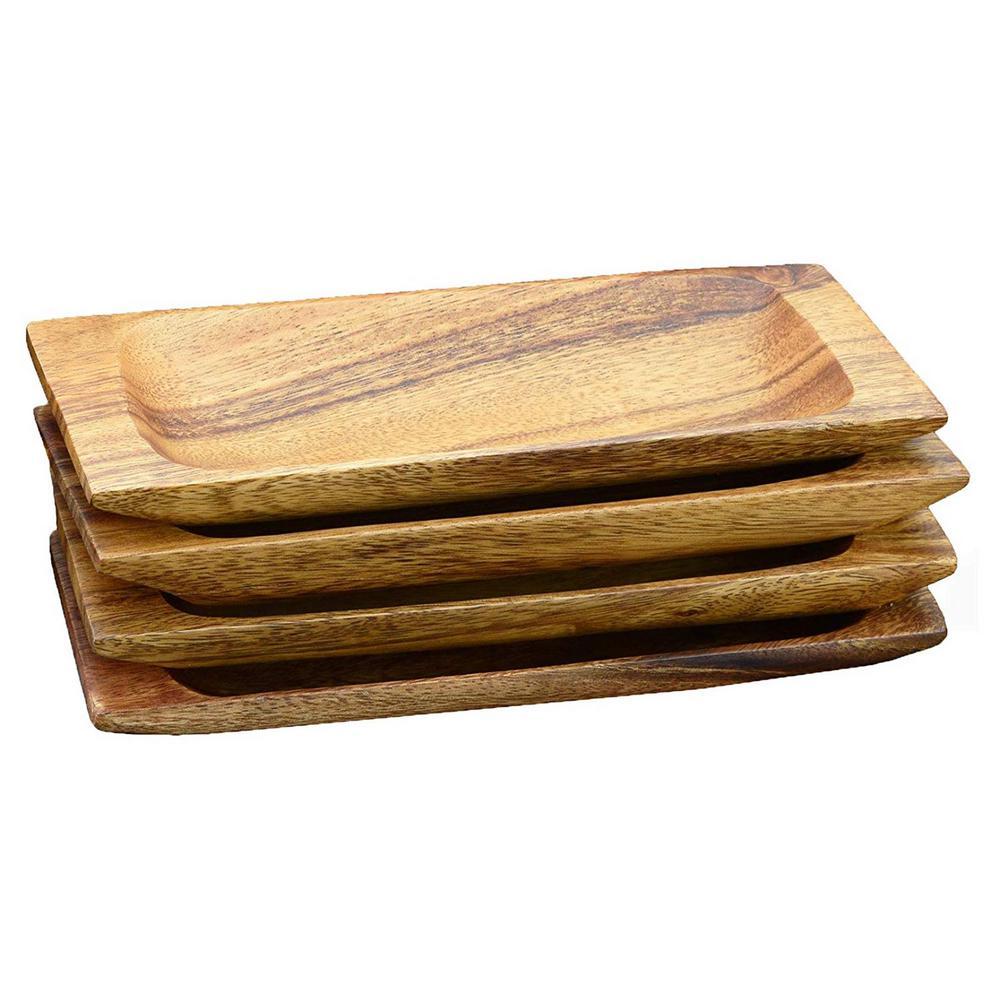 Acaciaware 4-Piece Acacia Hardwood Appetizer Serving Tray Set 22407