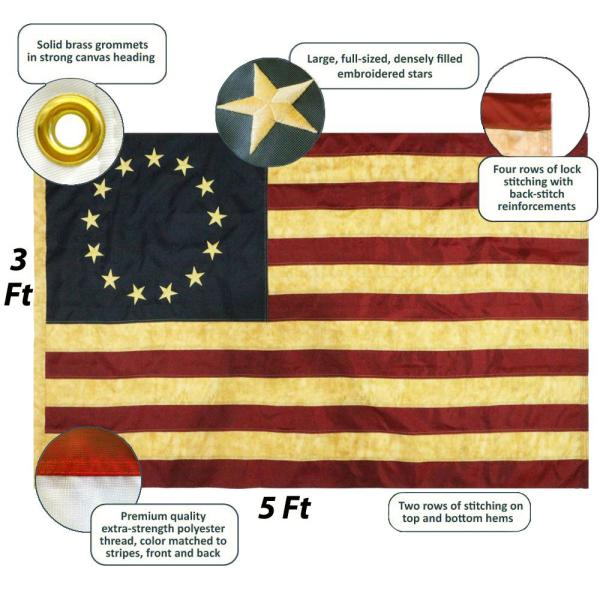 Anley Vintage Style Tea Stained Betsy Ross Flag 3X5 Foot Nylon Embroidered S