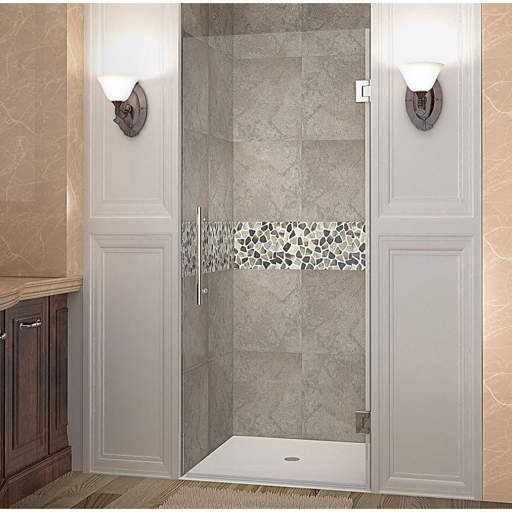 Aston Cascadia 28 in. x 72 in. Completely Frameless Hinged Shower Door in Stainless Steel with Clear Glass