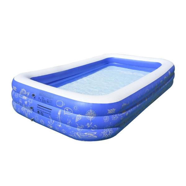 9.75 ft. x 5 ft. Rectangle 22 in. D Inflatable Pool with Air Pump