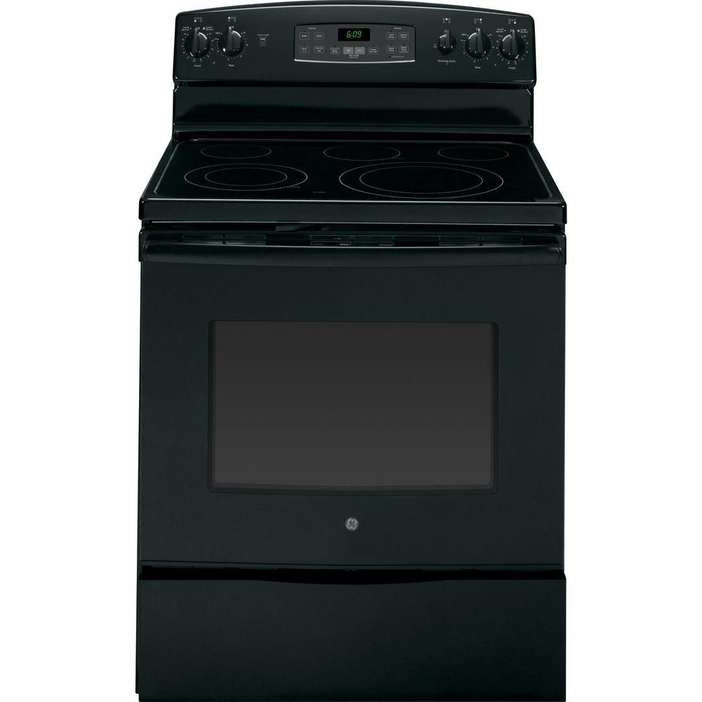 GE 5.3 cu. ft. Electric Range with Self-Cleaning Oven and Convection in Black