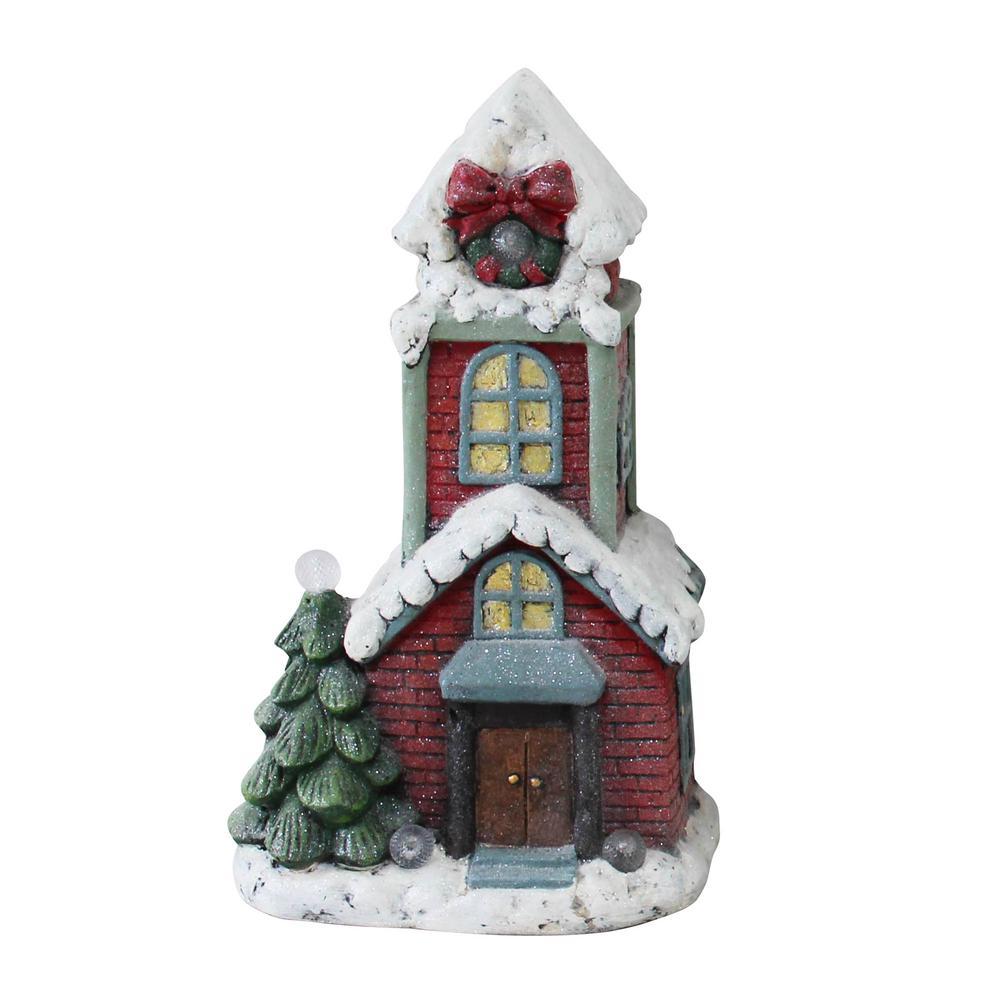 Alpine Corporation Miniature Christmas Townhouse Statuary with LED Lights, Festive Holiday Décor