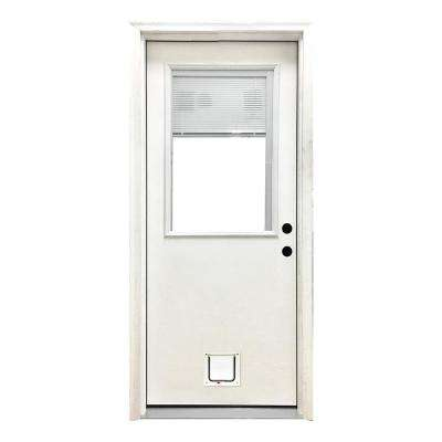 32 in. x 80 in. Classic Clear Mini-Blind LHIS White Primed Fiberglass Prehung Front Door with Small Cat Door
