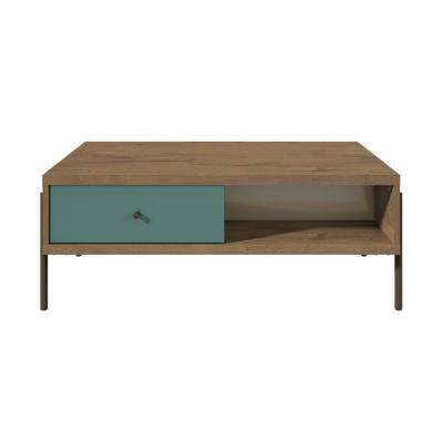 Joy 2-Drawer Blue and Off White Double-Sided End Table