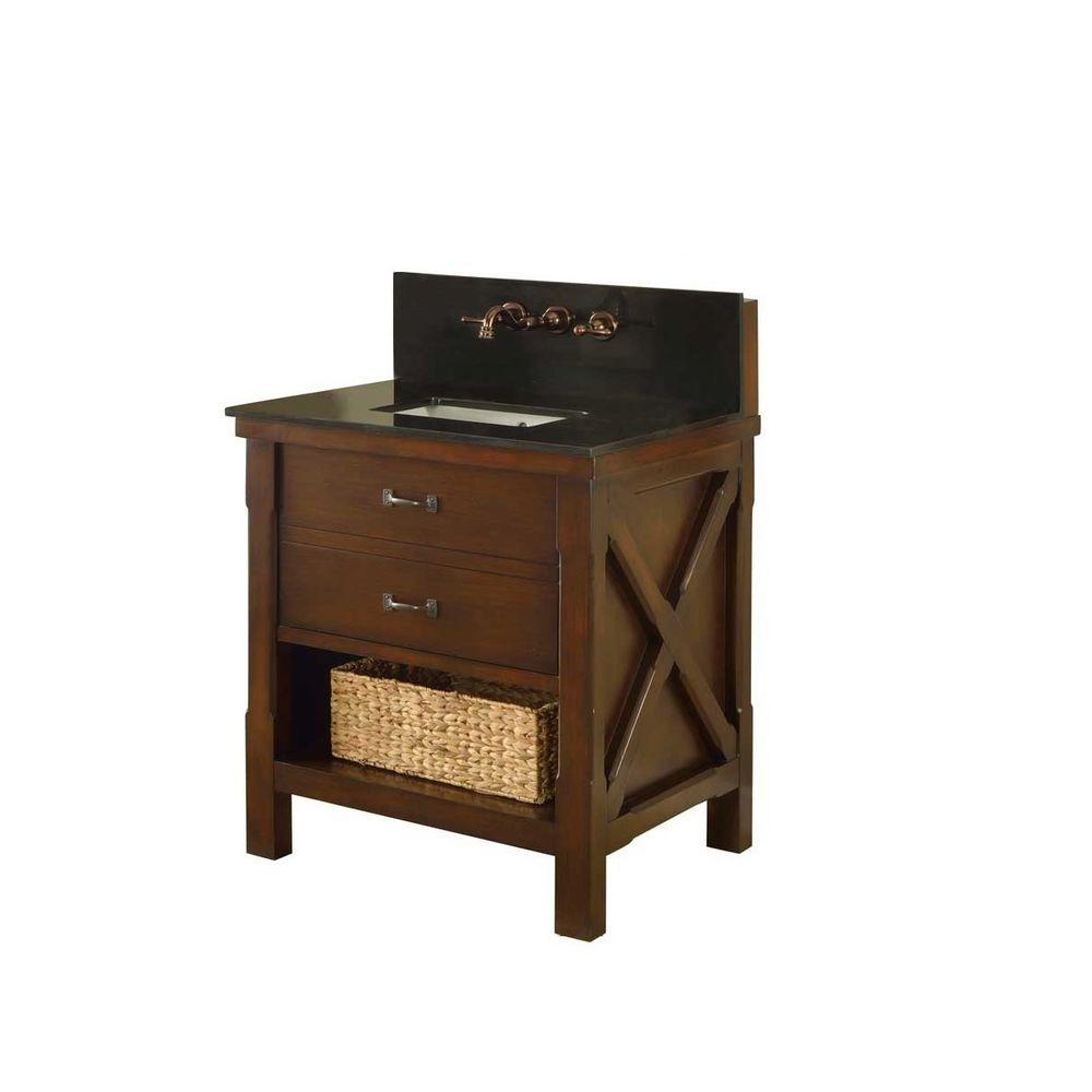 Direct vanity sink Xtraordinary Spa Premium 32 in. Vanity in Dark Brown with Granite Vanity Top in Black with White Basin