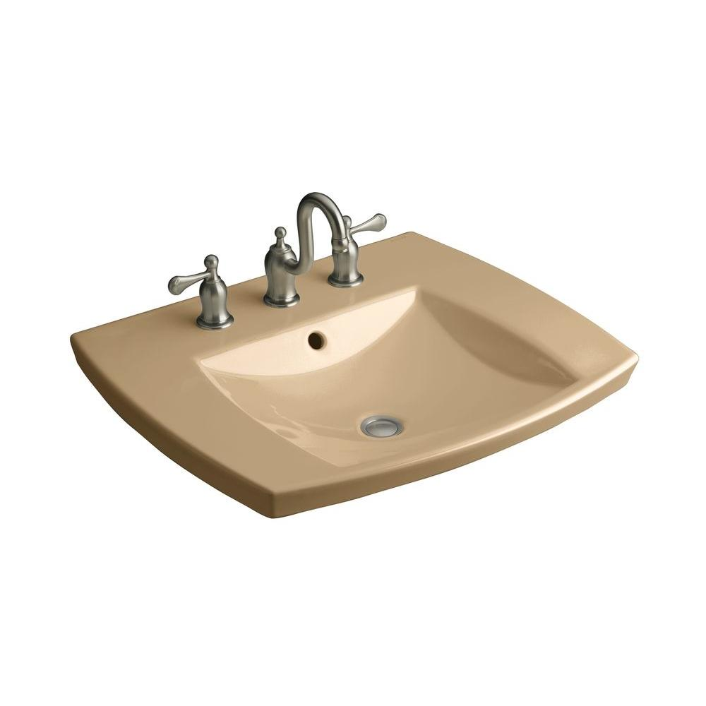 Kohler Kelston Drop In Vitreous China Bathroom Sink In Mexican Sand With Overflow Drain K 2381 8