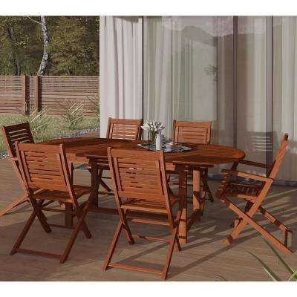 Milano 7-Piece Extendable Eucalyptus Wood Patio Dining Set
