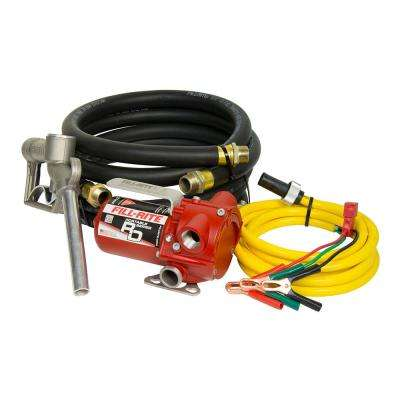 8 GPM 12-Volt Portable Fuel Transfer Pump with Manual Nozzle Discharge Hose Suction Hose and Power Cord with Clips