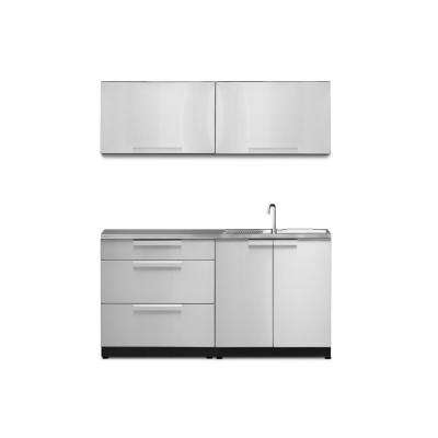 Stainless Steel 5-Piece 64 in. W x 36.5 in. H x 24 in. D Outdoor Kitchen Cabinet Set with Countertop and Covers
